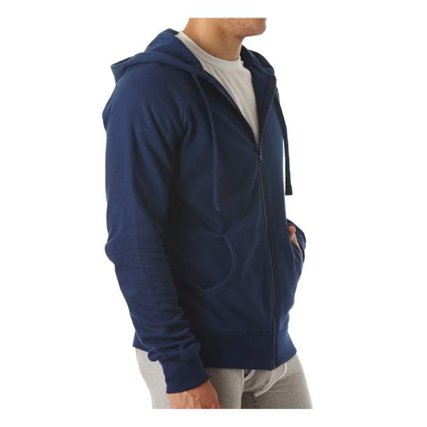 Mens Organic Cotton Full Zip Navy Hoodie S