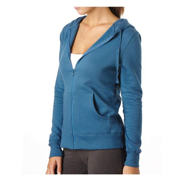 Women's Organic Cotton Full Zip Denim Hoodie L