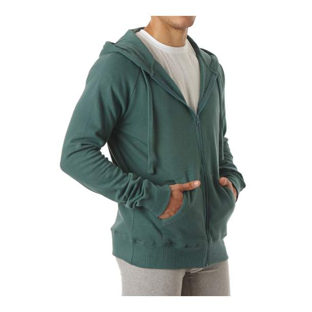 Mens Organic Cotton Full Zip Pine Hoodie L