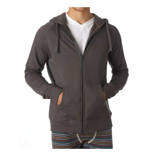 Mens Organic Cotton Full Zip Charcoal Hoodie M